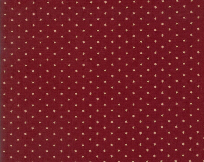 Moda Liberty Gatherings Deep Red with Cream Tan White Star Fabric 1205-11 BTY