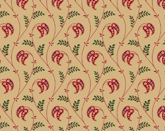 Marcus Old Sturbridge Village Civil War Christmas Beige Red Green Floral Background Fabric 3154-0188 BTY