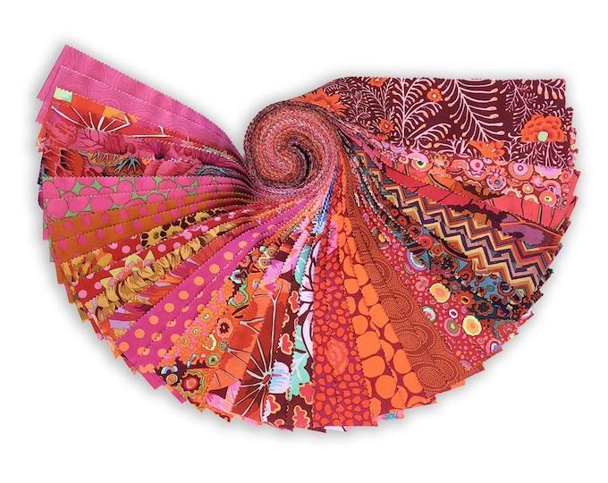 Free Spirit Kaffe Fassett Classics Lipstick Jelly Roll Red Yellow Orange Floral Roll 2.5 Fabric Strips