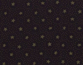 Moda Primitive Gatherings Favorites Black with Stars and Circles Primitive Gatherings Fabric 1061-16 BTY