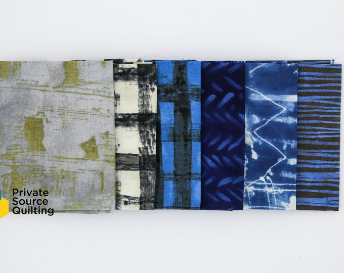 Windham Marcia Derse Treasure Hunt and Older Collection Blue Gray Grey Cream Fabric 6 Fat Quarter Bundle