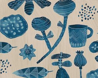 Windham Dreamer Carrie Bloomston Favorite Things Stone Blue Flower Mug on Cream Fabric BTHY 42569-3