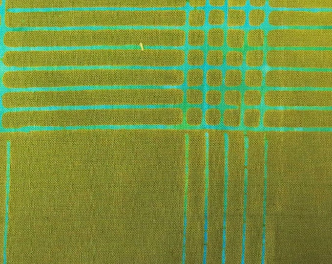 NEW Andover by Alison Glass Chroma Sun Prints 8132-G1 Olive Green Plaid Batik Fabric BTY