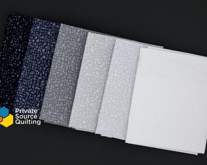 Windham Bedrock Texture Blender Day and Night Black Grey Gray White Fabric 6 Fat Quarter Bundle