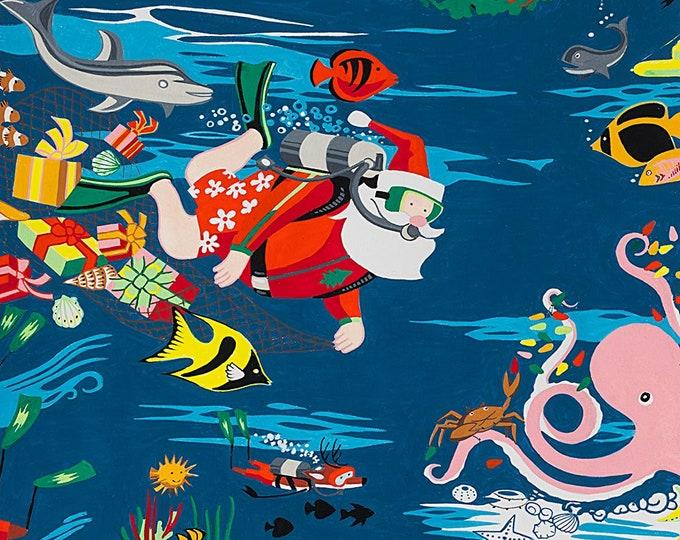 Alexander Henry Scuba Santa Christmas Holiday Dark Blue Fish Octopus Dolphin 8753-C Fabric BTY