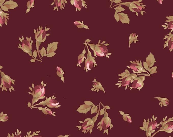 Maywood Fabric MAS9362-M Burgundy & Blush  Tossed Rose Buds  BTY
