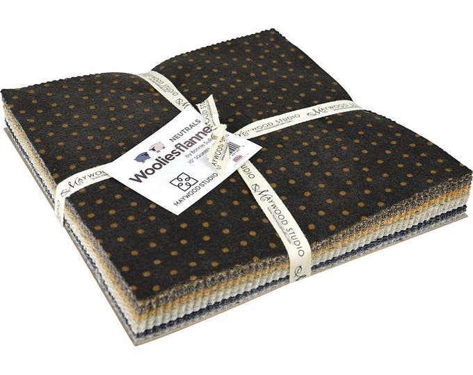 Maywood Woolies Neutrals Black Brown Tan Flannel Layer Cake 40 Fabric 10 inch Squares
