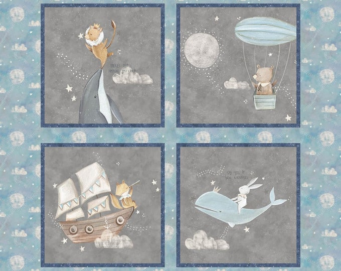 "Adventure in the sky 100% cotton 36"" x 44"" by Bianca Pozzi"