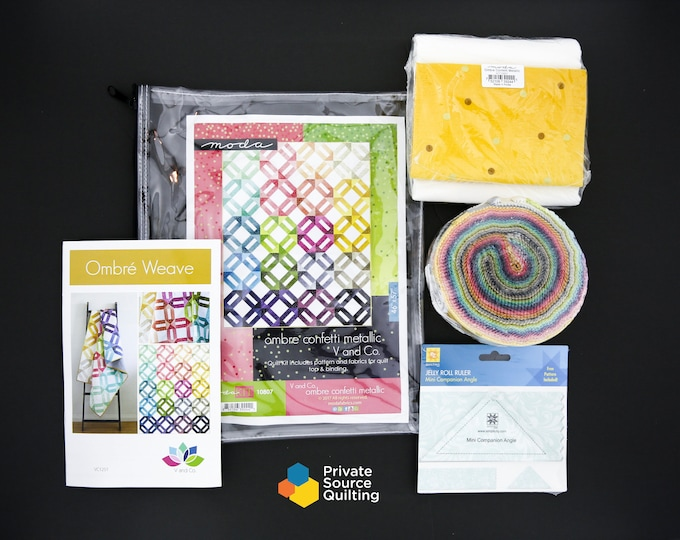 Moda V and Co Ombre Confetti Metallic Ombre Weave Quilt Kit Gold Pink Yellow Green Blue Fabric