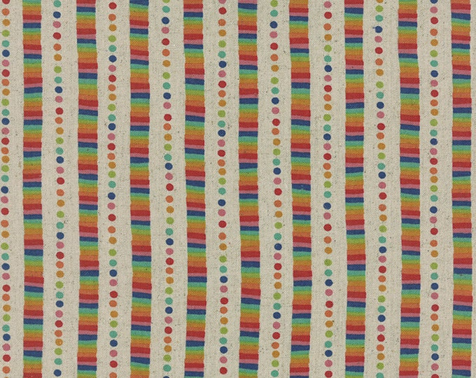 Moda Momo Flying Colors Cotton Canvas Linen Rainbow Stripe Dot Fabric 33065-11L BTHY