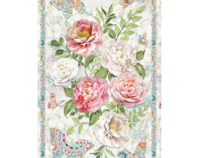 "Large Panel Multi Wild Blush multi color 100% cotton 24"" x 44"""