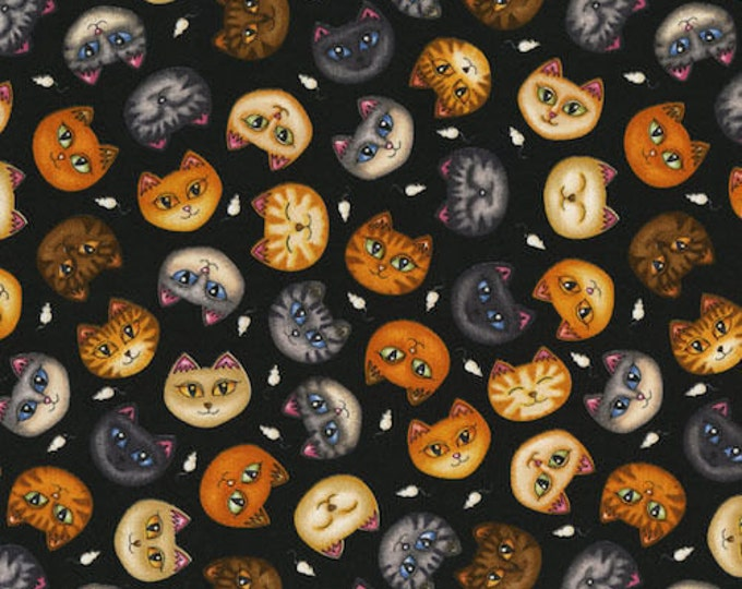 RJR Dan Morris Wild Cats Cat Kitty Tossed Black background Faces Fabric BTHY