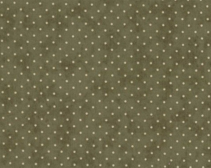 Moda Essentially Dots Green Sage Olive with White Polka Dot Fabric 8654-17 BTY