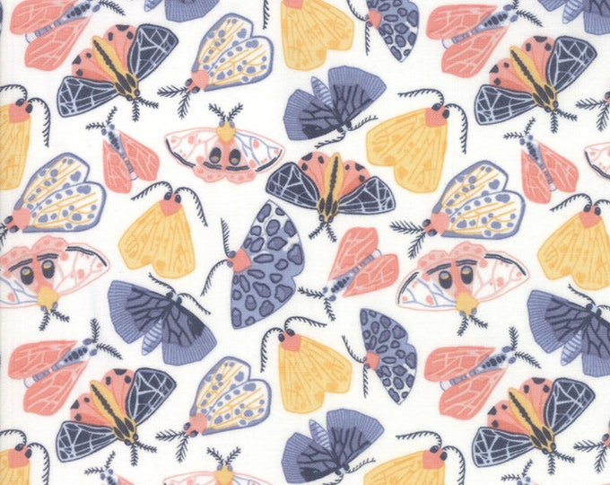 Moda Twilight by One Canoe Two Bug Pink Blue Yellow White Moth Fabric 36032-11 BTY