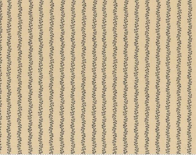 Moda Primitive Gatherings Flower Garden Gatherings Pie Crust Stripe Tan Floral Civil War Fabric 1244-12 BTY