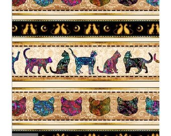 Quilting Treasures Purr Suasion Kitty Cat Border Stripe Fabric 26643-X BTY