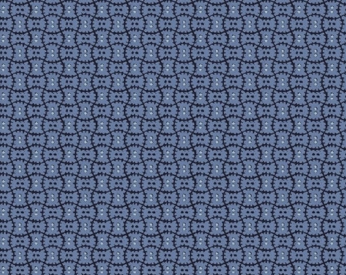 Marcus Cozies Sarah J Cream Medium Blue Dot Cozy Flannel Fabric 2816-0299 BTY