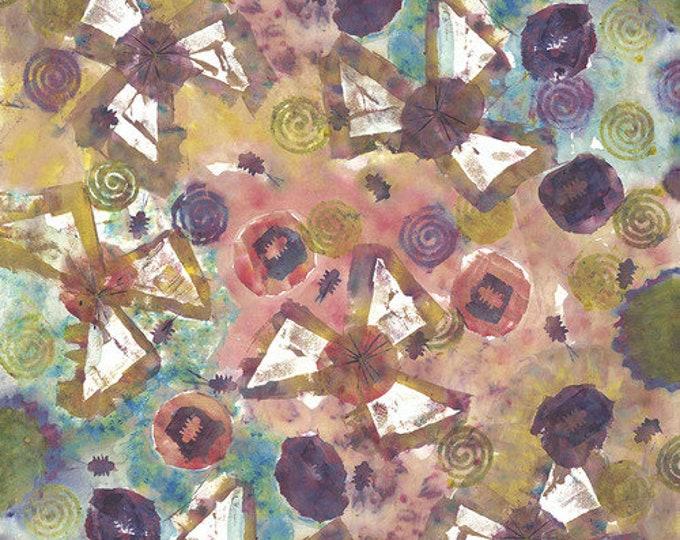 NEW FreeSpirit New Life - Multi Denise Burkitt Pink Green Purple Floral Art Fabric PWDB007 MULTI BTY