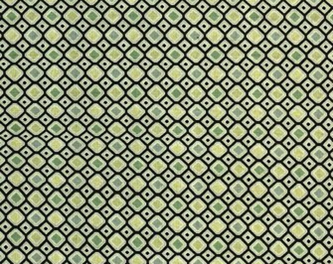 Benartex fabric yellow and green diamonds on a  brown background by  Diane Nagel  Cotton 04471-72 BTY