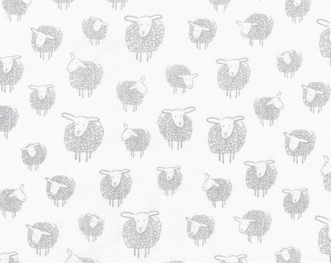 Robert Kaufman Wooley Sheep White with Gray Grey Little 1 Inch Sheep Lamb Fabric 17632-186 BTY