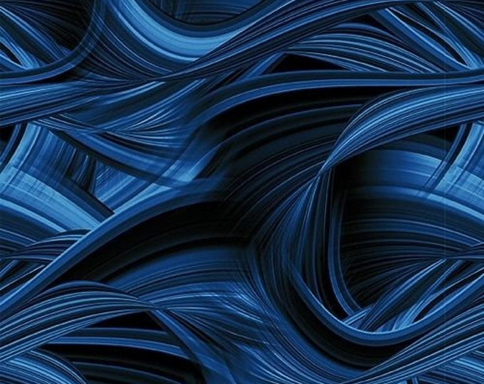 Blank Quilting Sedona Wave Navy Blue Cotton 108 WIDE Fabric 3 yard cut 9537-79