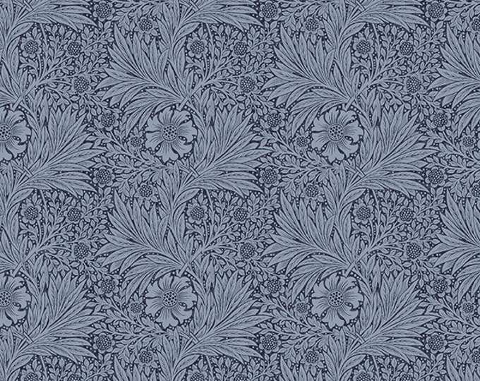 Free Spirit Kelmscott by Morris & Co. Marigold Navy Blue Tonal Floral Leaf Flower Fabric PWWM006 BTY