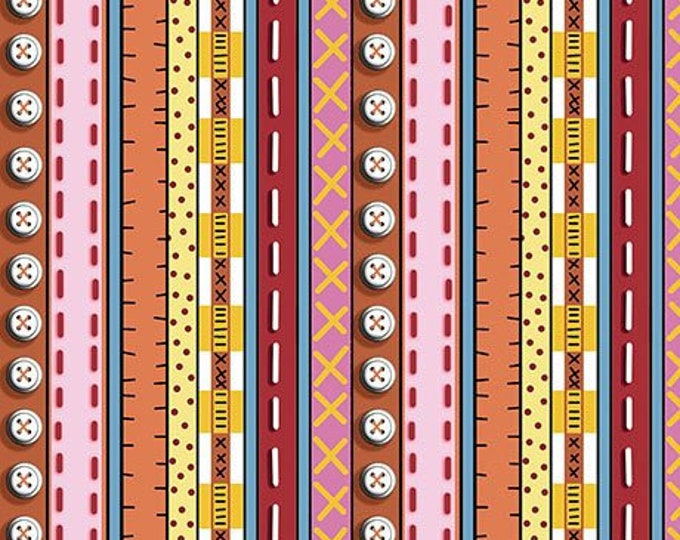 Quilting  Patchwork Farms - Stripe Orange Pinck Red Fabric 26113-r BTY