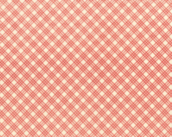 Moda Snowfall Prints Minick and Simpson Red Cream Check Plaid Holiday Fabric 14837-12 BTY