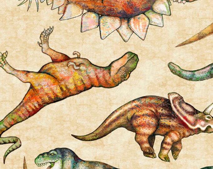 Lost World Realistic Large Dinosaur Dan Morris QT Fabrics  Cream Fabric Blue 26800-E BTY