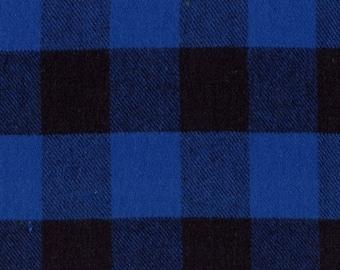 Marcus Primo Plaids Flannel Classic Tartans Blue Black Buffalo Plaid Fabric J372-0110 BTY