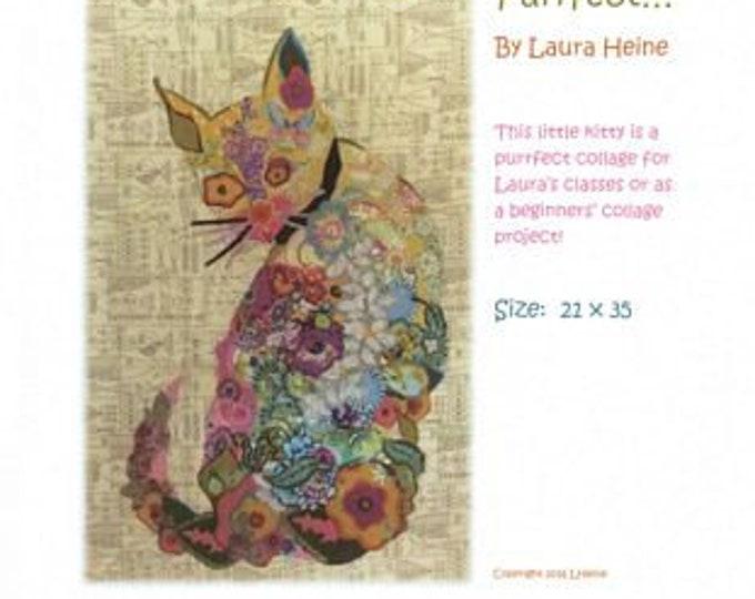 Purrfect Fiberworks By Laura Heine the Cat collage pattern  Size 21 x 35