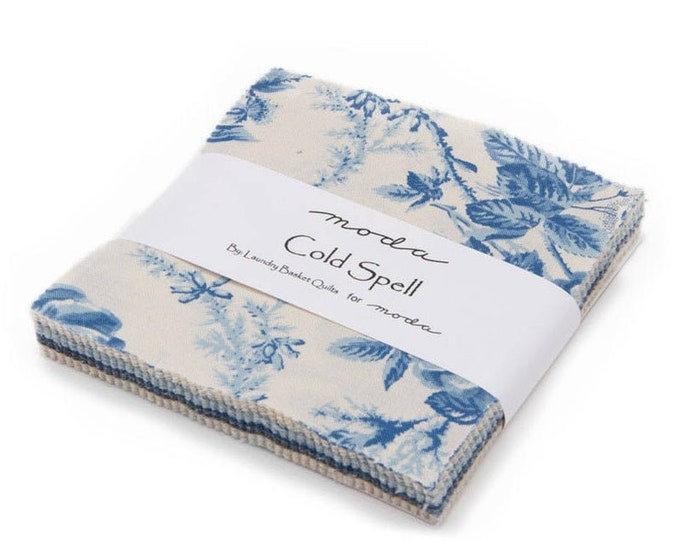 Moda Cold Spell Edyta Sitar Laundry Basket Quilts LBQ Beige Blue Navy 5 x 5 OOP Charm Squares Fabric