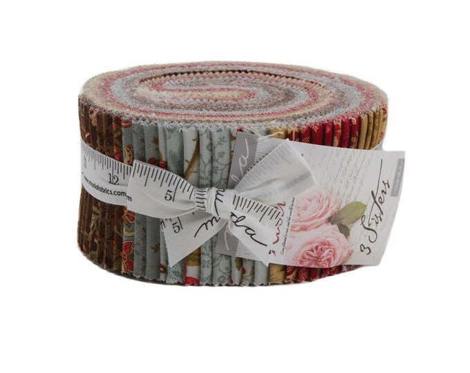 Moda 3 Sisters Rosewood Shabby Chic Brown Beige Red Cream Jelly Roll Fabric 40 2.5 Strips