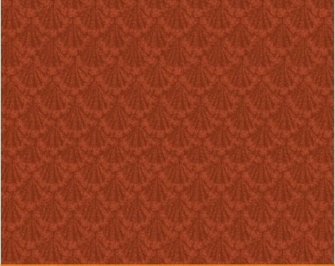Windham Marys Blenders Red Brick Orange Tonal Floral Scallop Civil War Fabric 41483-20 BTY