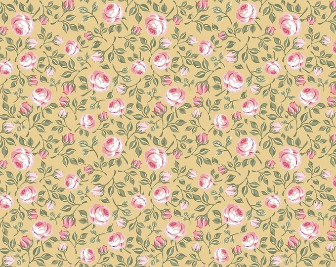 Gingham Farmhouse by Poppie Cotton GF19114 Cotton Fabric Vintage Pink Roses on Yellow BTY