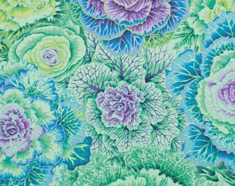 NEW Kaffe Collective Philip Jacobs Brassica Large Flower Floral Green Teal Purple PWPJ051.GREEN Fabric BTY