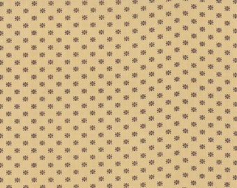 Moda Christmas Gatherings Parchment Tan with Brown Chestnut Circle Stars Fabric 1177-12 BTY