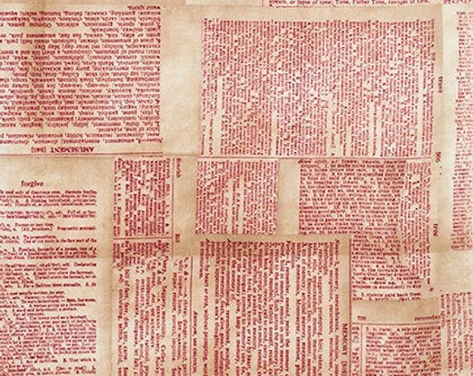 Free Spirit Tim Holtz - Foundations - Dictionary Red Writing Pages Fabric PWTH008 BTY