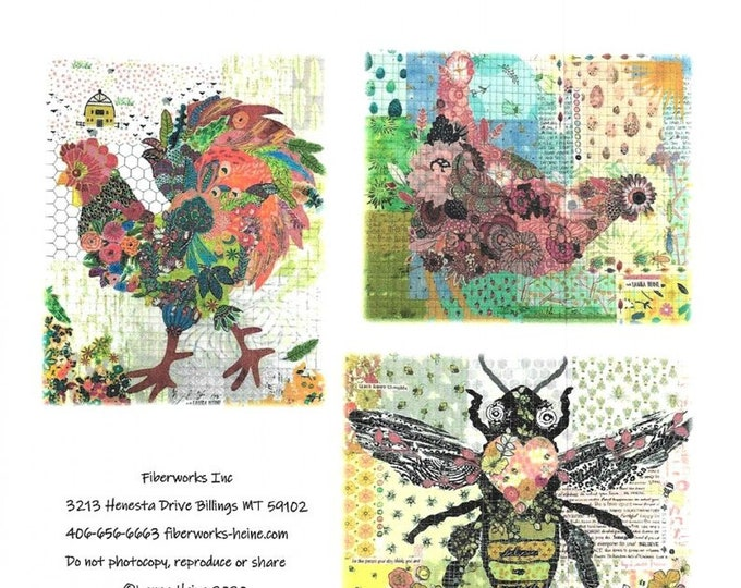 Group #6 Rooster Hen and Bee Laura Heine Teeny tiny Collage Patterns