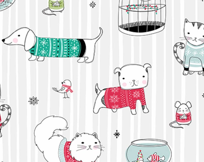Ink and Arrow Quilting Treasures Jingle and Mingle Christmas Pets Dog Cat Fish Fabric 25918-K BTY
