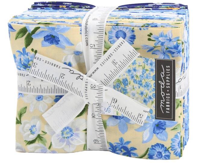 Moda Summer Breeze VI Yellow Navy Blue White Floral 16 Fat Quarter FQ Fabric