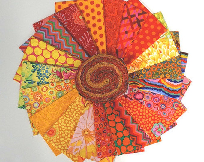 Free Spirit Kaffe Fassett Classics Citrus Jelly Roll Orange Yellow Floral Roll 2.5 Fabric Strips