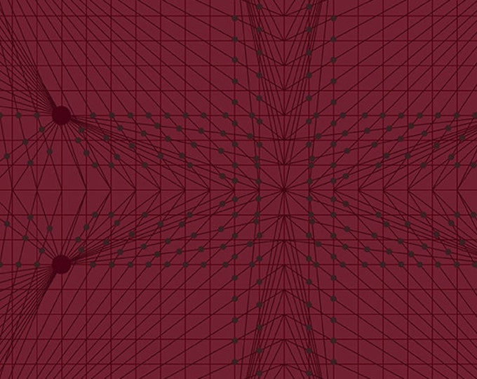 Andover Quantum Giucy Giuce Interconnection Garnet Red Maroon Graph Line Fabric BTY 8957-R