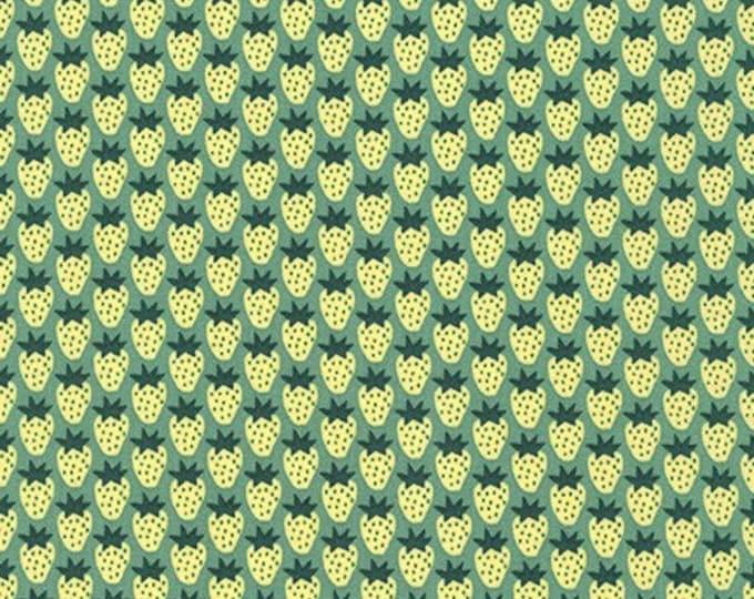 Kaufman Berry Season Elizabeth Hartman Strawberry Berry Meadow Green 18094-270 Fabric BTY