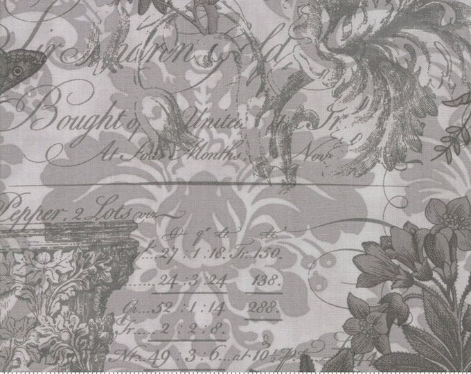 Moda 3 Sisters MEMIORS Grey Gray Shabby Chic Floral Vines Tonal Fabric 44210-22 BTY