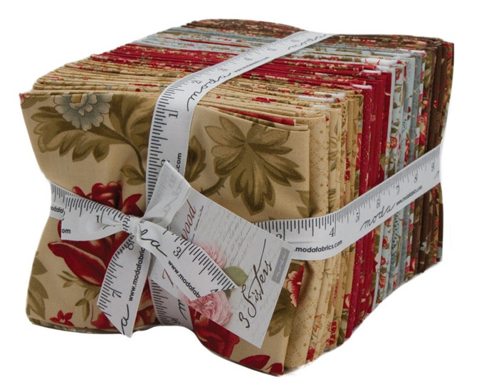 Moda 3 Sisters Rosewood Shabby Chic Brown Beige Red Cream 36 Fat Quarter Fabric Bundle