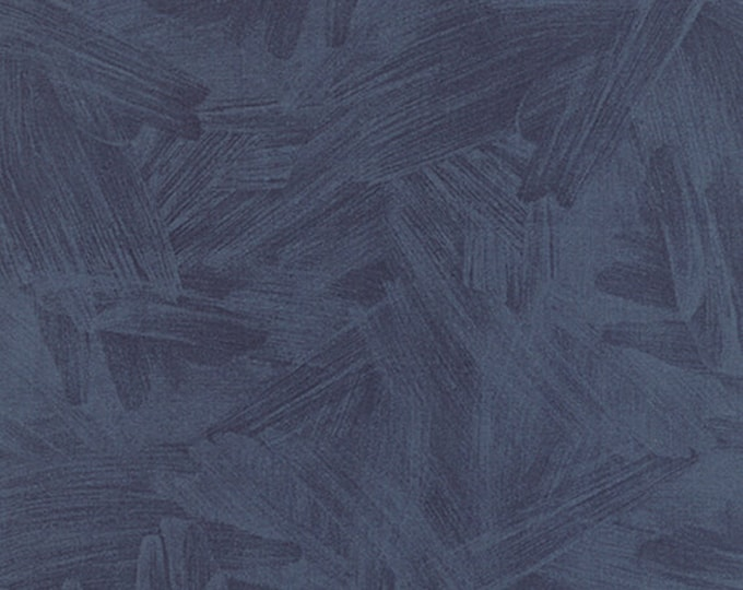 Moda One Canoe Two Tucker Prairie Stormy Dark Navy Blue Brush Strokes Fabric 36008-11 BTY