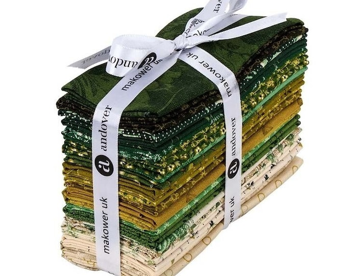 NEW Andover Edyta Sitar Laundry Basket Quilts LBQ Evergreen Green Beige 24 Fat Eighths Bundle Fabric