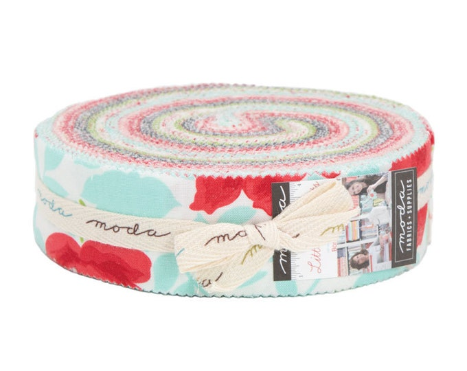 Moda Bonnie and Camille Little Snippets Floral Pink Aqua Blue Green Honey Bun 1.5 in Fabric Strips