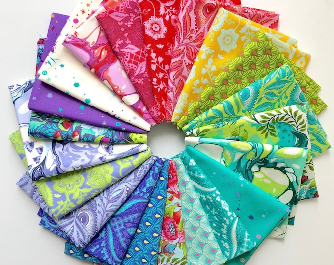 NEW Free Spirit Pinkerville Tula Pink Unicorn Floral Rainbow 21 Fat Quarter Fabric Bundle